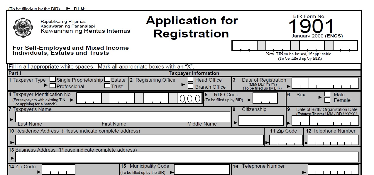BIR application for registration