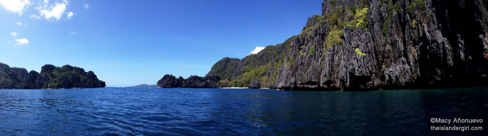 Bacuit Bay as seen from the seat of a kayak, taken using the iPhone's Panorama mode (Bacuit Bay, El Nido)